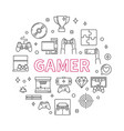 gamer round concept outline minimal vector image