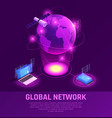 global network isometric glowing composition vector image vector image