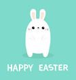 happy easter white rabbit bunny cute kawaii vector image vector image
