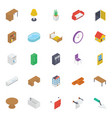 home interior isometric icons pack vector image