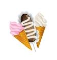 Ice cream waffle cone and Cake potatoes vector image