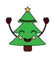 kawaii christmas tree cartoon happy vector image vector image