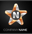 letter n logo symbol in the colorful star on black vector image vector image