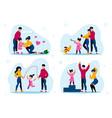 modern parents lifestyle scenes flat set vector image vector image