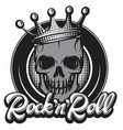 monochrome with crown and skull vector image vector image