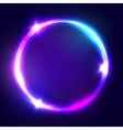 Neon sign Round frame with glowing and light vector image vector image
