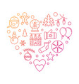 new year line icons in shape heart vector image