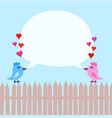 pink and blue birds on fence with hearts and vector image