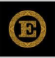 Premium elegant capital letter e in a round frame