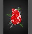 raw beef rib eye steak on dark background vector image vector image