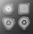 Recycle symbol Glass buttons vector image vector image