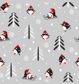 seamless background with penguins and trees vector image vector image
