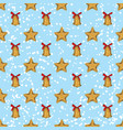 seamless pattern golden christmas stars and bells vector image vector image