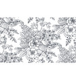 seamless pattern with hand drawn flowers and vector image