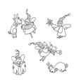 set christmas angels and deers vector image vector image