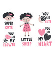 set isolated little sheep snail flower heart vector image vector image