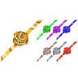 set of corner big bows of shiny ribbons vector image