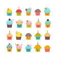 set of cupcakes and muffins cute cartoon vector image vector image