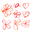 Set of watercolor heart spots vector image