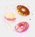 set sweet cartoon chocolate and strawberry vector image