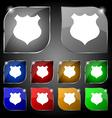 shield icon sign Set of ten colorful buttons with vector image vector image