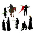 silhouettes of medieval people vector image vector image