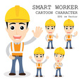 Smart worker cartoon character eps 10 vector image vector image