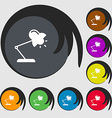 Table lamp icon sign Symbols on eight colored vector image
