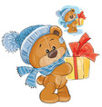 teddy bear in a knitted cap and scarf vector image vector image