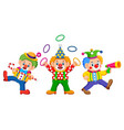 three clowns are playing the attraction vector image
