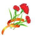 Three red flower with a ribbon Painted carnations vector image vector image