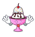 tongue out ice cream sundae mascot cartoon vector image vector image