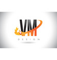 vm v m letter logo with fire flames design and vector image vector image