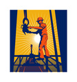 worker on oil rig sealing well vector image vector image