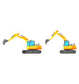 yellow industrial excavator isolated on white vector image