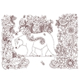 Zen Tangle bear with flowers vector image