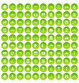 100 adventure icons set green circle vector image vector image