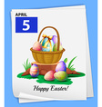 A poster showing the 5th of April vector image vector image
