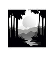 Beautiful nature landscape with silhouettes of