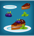 blackberry cake with mint on the plate vector image vector image