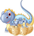 cartoon happy mother and baby dinosaur hatching vector image vector image