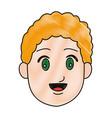 cartoon head young man smile expression vector image vector image