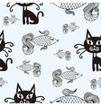 Cats and fishes vector image vector image