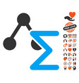 chemical formula icon with valentine bonus vector image vector image