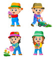 children doing the garden activities vector image