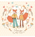 Concept love card with cute fashionable foxes vector image