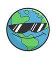 cool sunglasses planet earth cartoon vector image vector image
