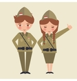 couple kids cartoon wearing freedom fighter army vector image vector image