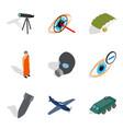 craft production icons set isometric style vector image