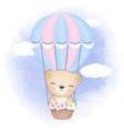 cute bear on hot air balloon hand drawn cartoon